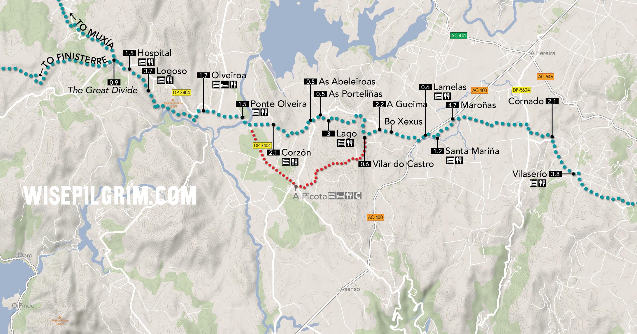 Camino to Finisterre & Muxía Map 2