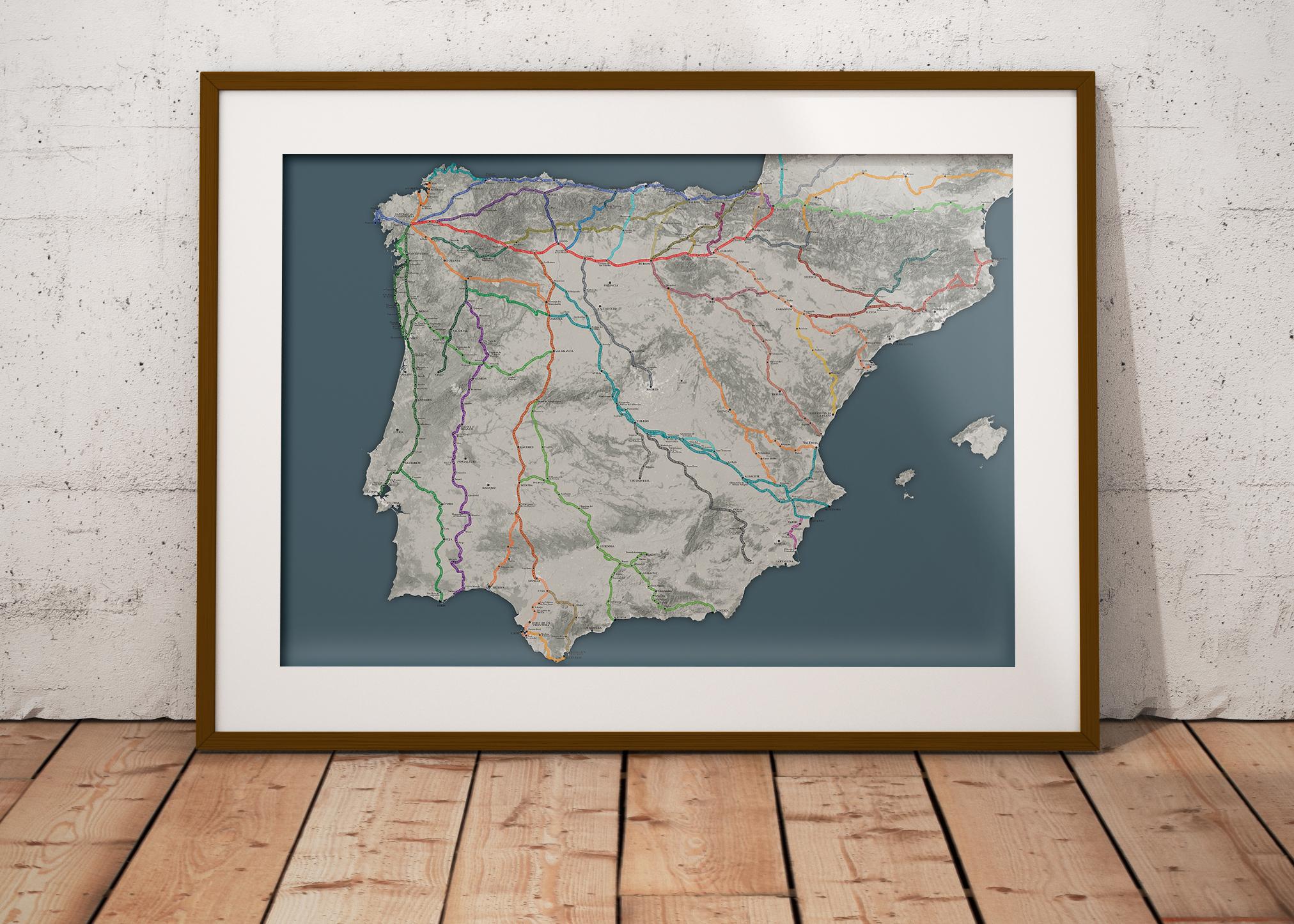 Big Map Of Spain.The Big Map Of The Camino De Santiago Wise Pilgrim Guidebooks For