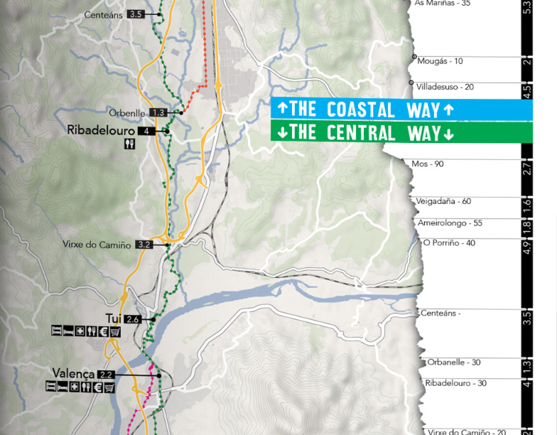 Camino Portugues Guidebook Map Example