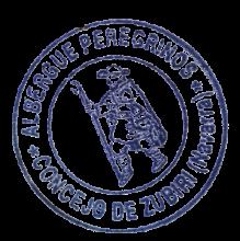 camino de santiago Albergue de Peregrinos de Zubiri stamp and sello