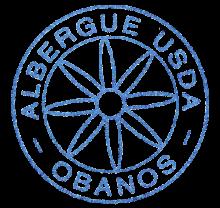 camino de santiago Albergue USDA de Obanos stamp and sello