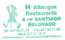 camino de santiago Albergue A Santiago stamp and sello